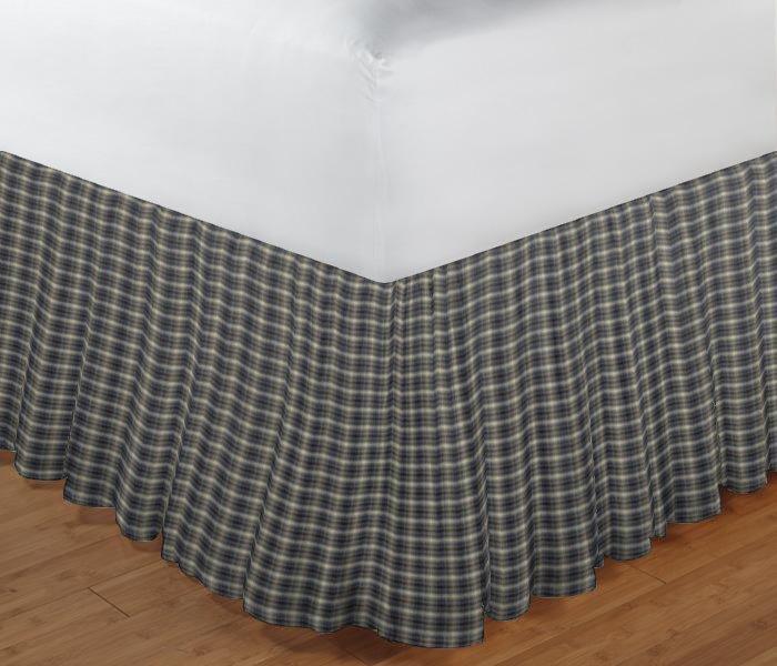 """Blue Black Grey Plaid Bed Skirt King Size 78""""W x 80""""L-Drop 18"""""""