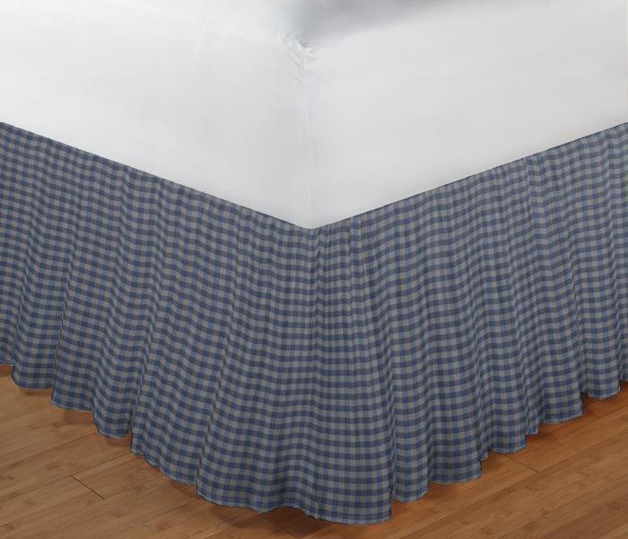 "Blue Ecru Gingam Bed Skirt King 78""W x 80""L-Drop 18"""