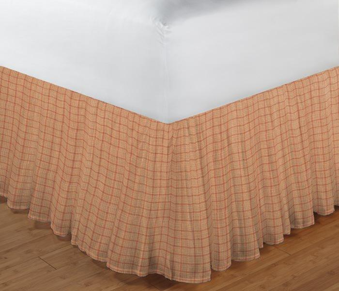"Golden Rod Plaid Bed Skirt King Size 78""W x 80""L-Drop 18"""