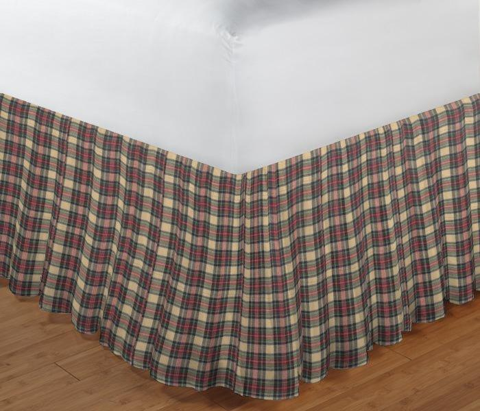 "Brown and Green Plaid Bed Skirt King Size 78""W x 80""L-Drop 18"""