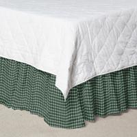 "Homespun Green Check Bed Skirt King Size 78""W x 80""L-Drop 18"""