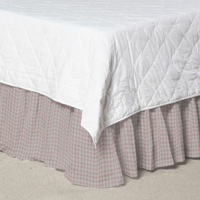 "Pale Pink Gingham Bed Skirt King Size 78""W x 80""L-Drop 18"""