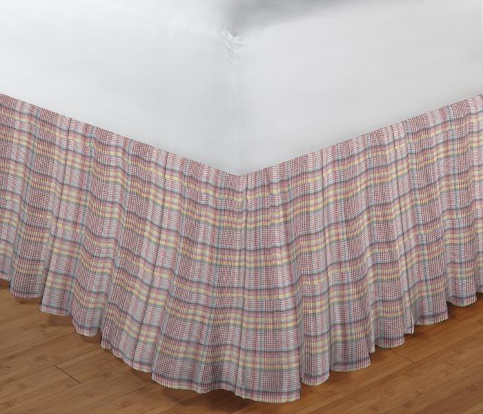 "Red Lines and Off White Plaid Bed Skirt King Size 78""W x 80""L-Drop 18"""