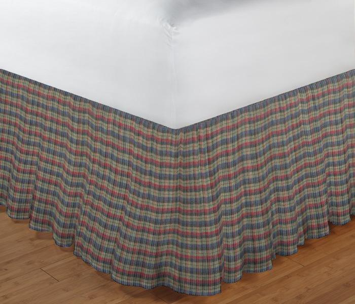 "Tan and Blue Red Plaid Bed Skirt King Size 78""W x 80""L-Drop 18"""