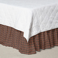 "Red Black and Tan Plaid Bed Skirt King Size 78""W x 80""L-Drop 18"""
