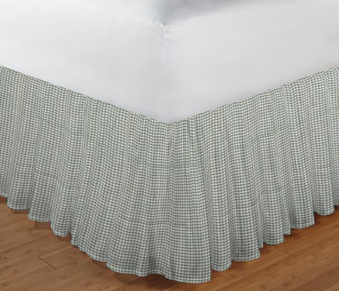 """Sage Green Gingham Bed Skirt King Size 78""""W x 80""""L-Drop 18"""""""