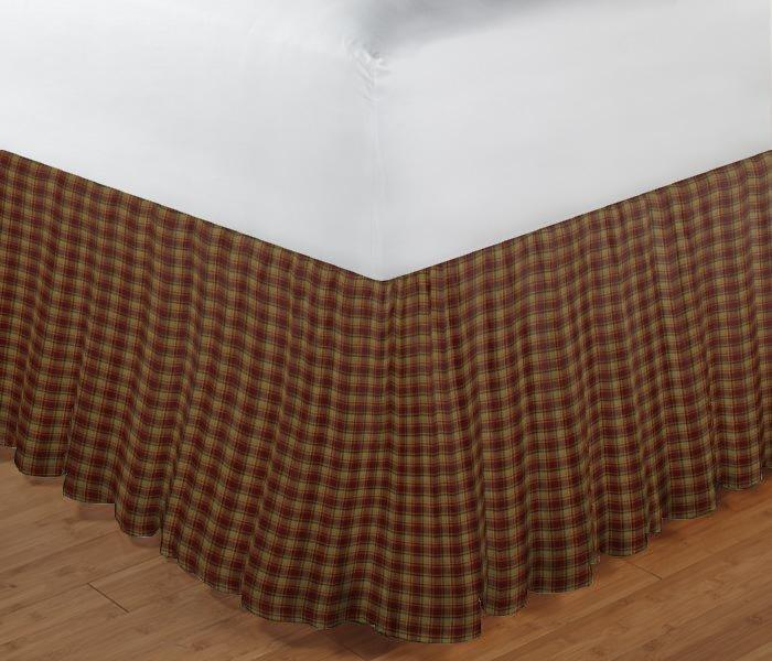 "Rustic Red and Tan Check Plaid Bed Skirt King Size 78""W x 80""L-Drop 18"""