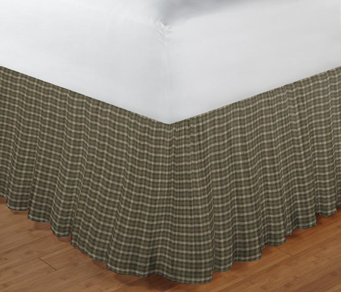 "Olive Green and Ecru Checks Bed Skirt King Size 78""W x 80""L-Drop 18"""