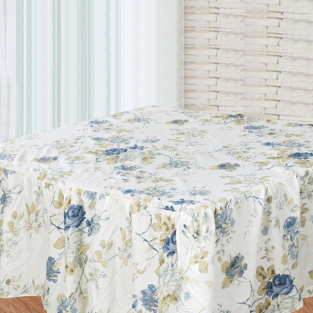 "Blue Roses Bed Skirt Luxury King Size 76""W x 80""L-Drop 20"""