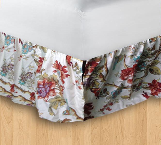 """Finch Orchard queen bedskirt ruffled 60""""w x 80""""l-drop-18"""""""