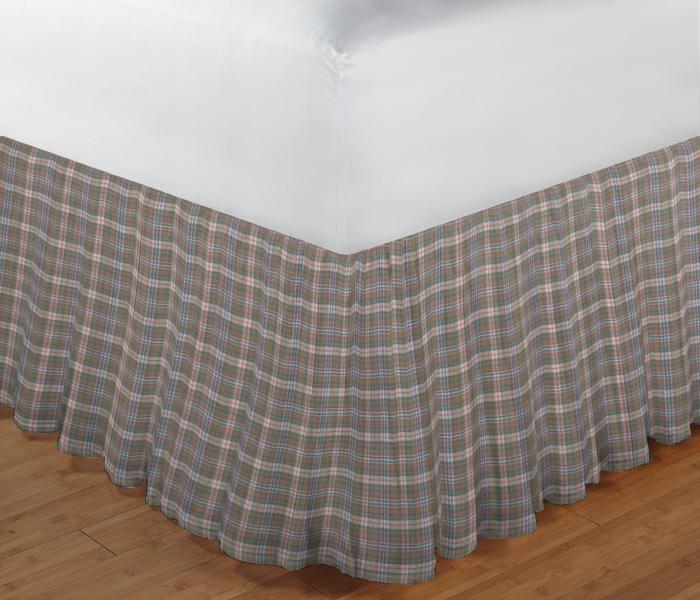 "Blue Grey Orange Plaid Bed Skirt Queen Size 60""W x 80""L-Drop-18"""
