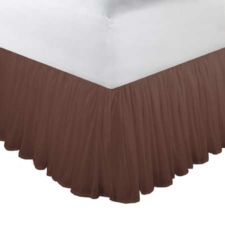 "Chocolate Brown Chambray Bed Skirt Queen Size 60""W x 80""L-Drop-18"""