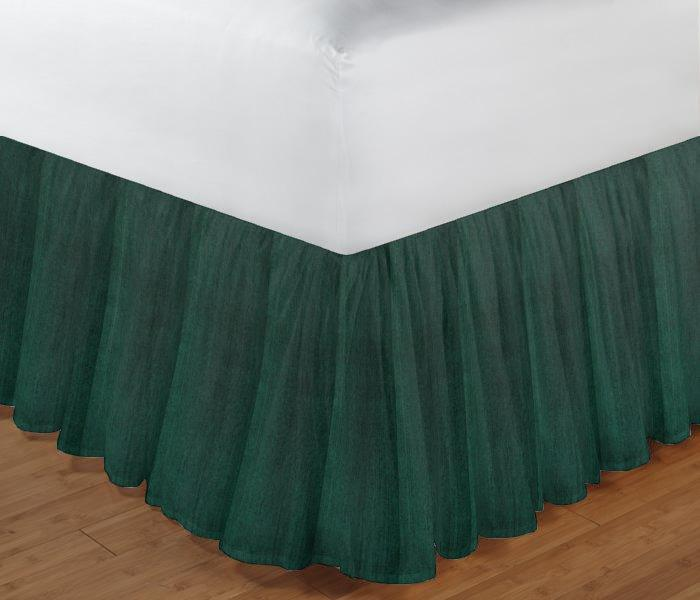 "Hunter Green Chambray Bed Skirt Queen Size 60""W x 80""L-Drop-18"""