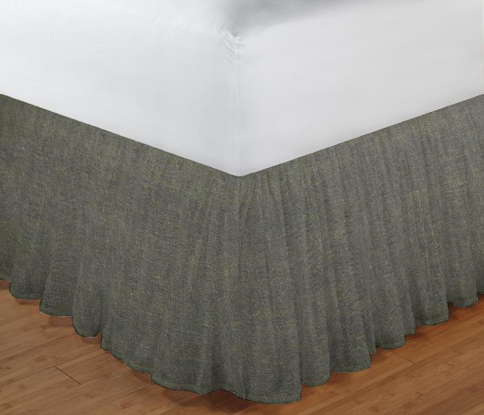 "Dark Spruce Blue Chambray Bed Skirt Queen Size 60""W x 80""L-Drop-18"""