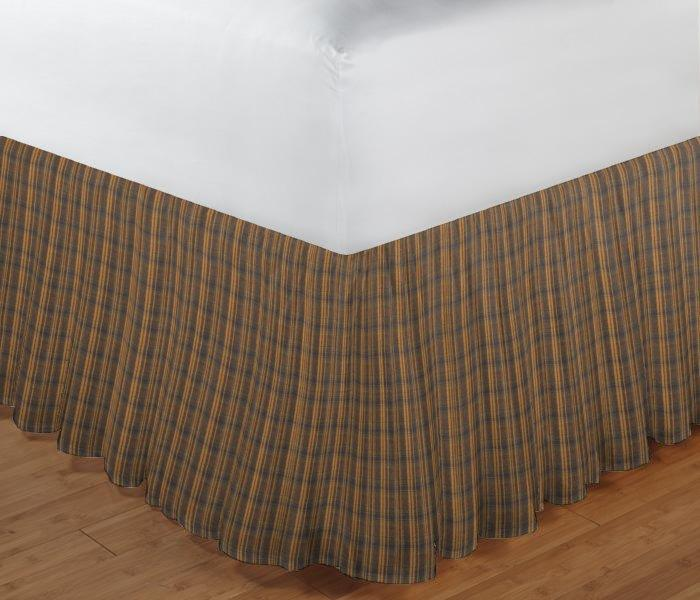 "Dark Brown Plaid Bed Skirt Queen Size 60""W x 80""L-Drop-18"""