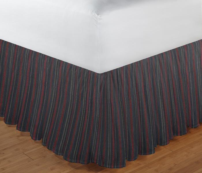 "Black and Maroon Stripe Bed Skirt Queen Size 60""W x 80""L-Drop-18"""