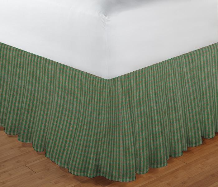 "Hunter Green and Tan Check Bed Skirt Queen Size 60""W x 80""L-Drop-18"""