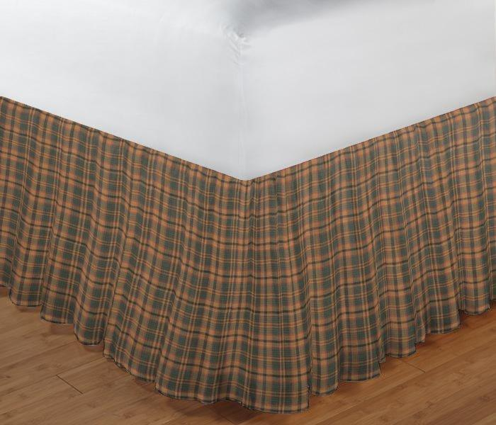 "Gold and Brown Plaid Bed Skirt Queen Size 60""W x 80""L-Drop-18"""