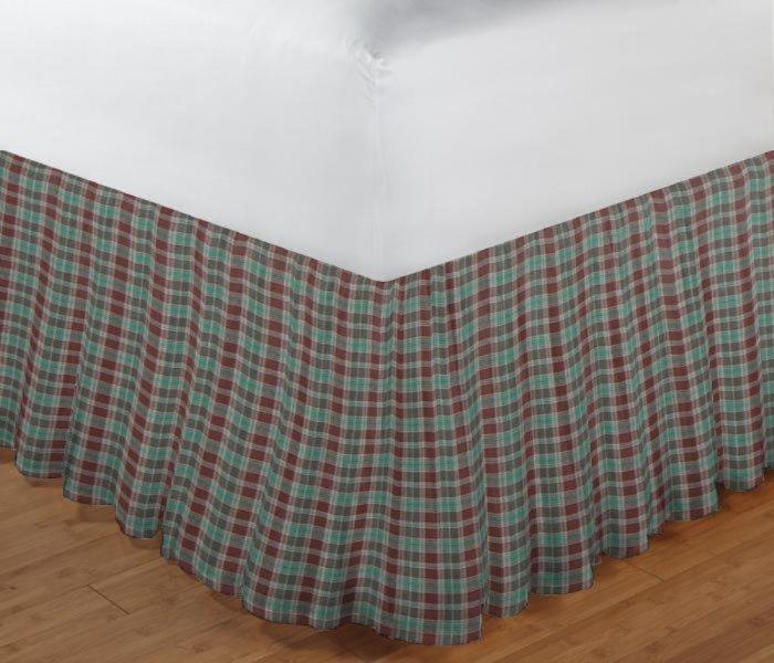 "Brown and Green Plaid Bed Skirt Queen Size 60""W x 80""L-Drop-18"""