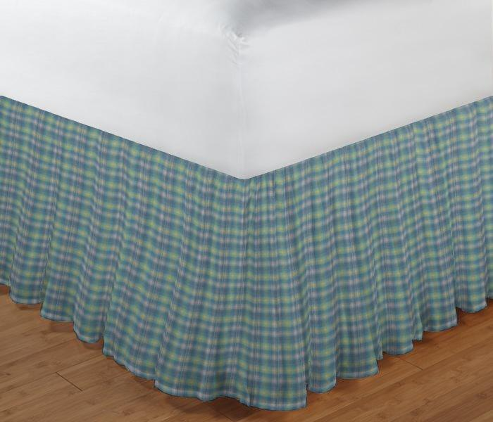 "Pale Green Yellow plaid Bed Skirt Twin Size 39""W x 76""L-Drop-18"""