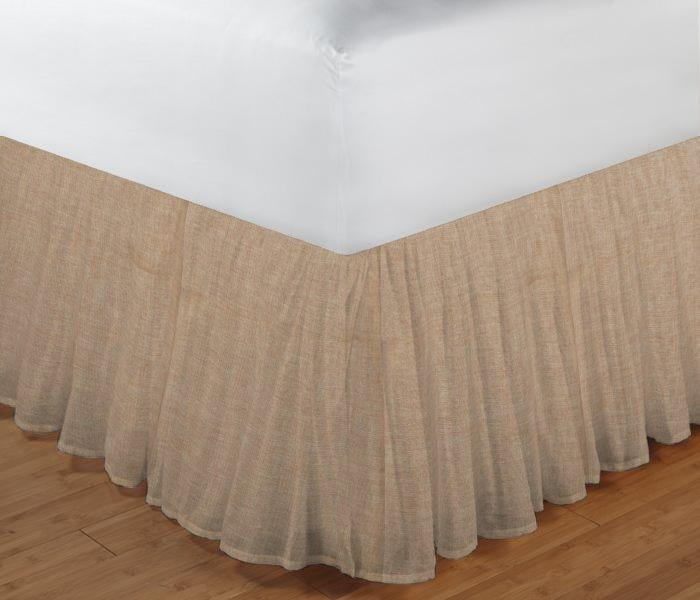 "Gold Chambray Bed Skirt Twin Size 39""W x 76""L-Drop-18"""