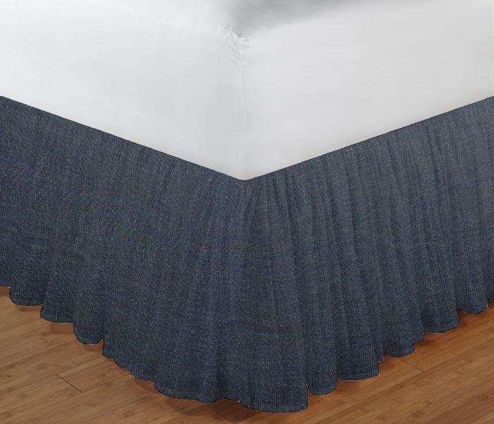 """Dark Blue Denim Chambray Bed Skirt Twin Size 39""""W x 76""""L-Drop-18"""""""