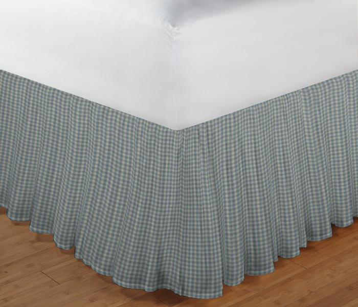 "Light Blue Pin Check Bed Skirt Twin Size 39""W x 76""L-Drop-18"""