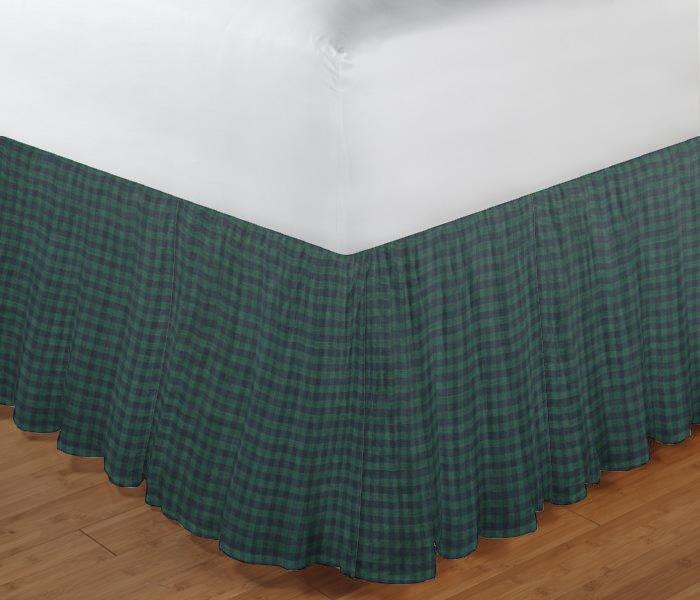 "Green and Blue Gingam Bed Skirt Twin Size 39""W x 76""L-Drop-18"""