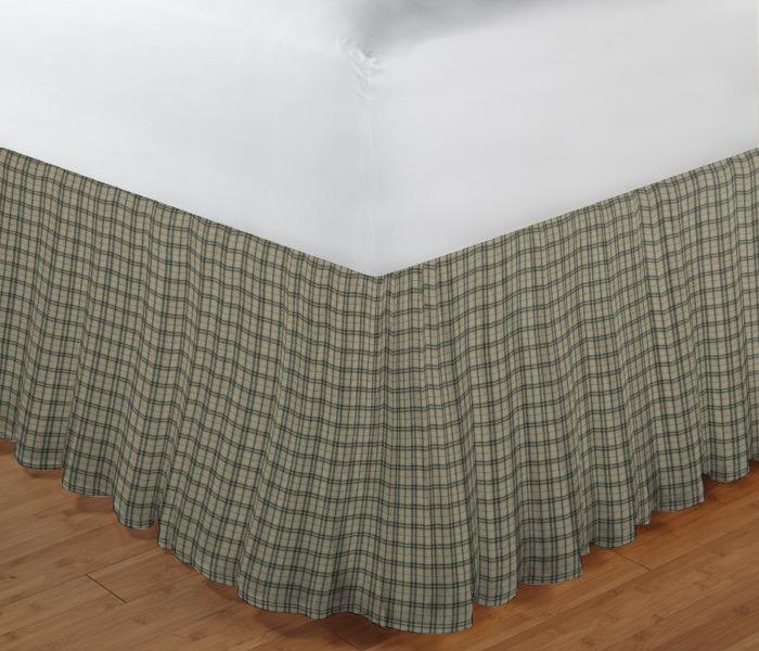 "Cream Plaid with Light Olive Lines Bed Skirt Twin Size 39""W x 76""L-Drop-18"""