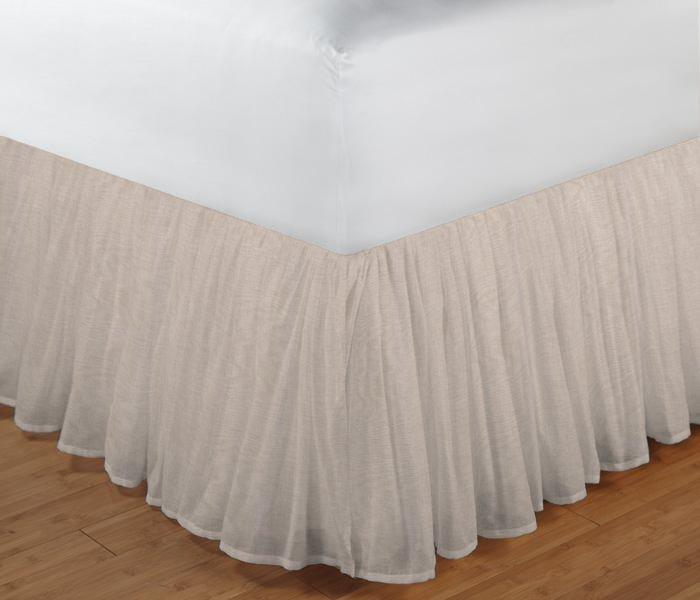 "Eggshell White Linen Bed Skirt Twin Size 39""W x 76""L-Drop-18"""