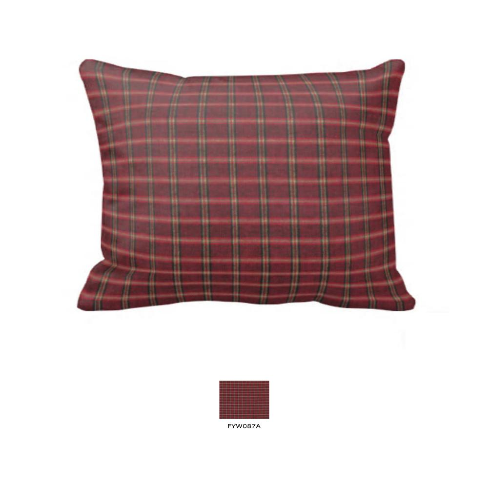 "Rustic Red Large Check Fabric Euro Shams 26""W x 26""L- Ruffled"