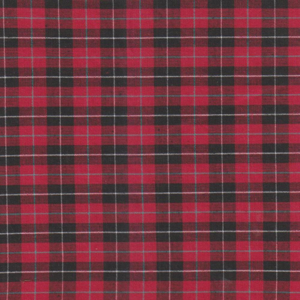 Red & black Tartan Plaid fabrics by the yard