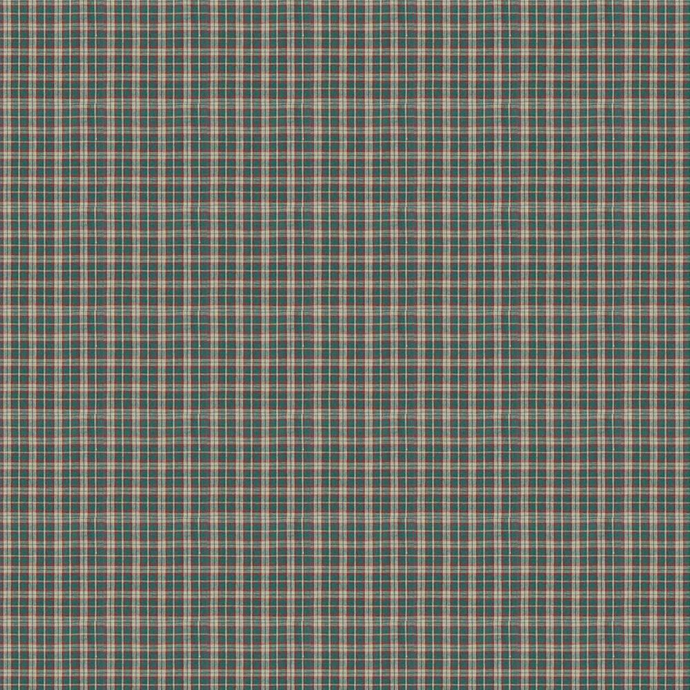 Green and Muddy Red Plaid fabrics by the yard