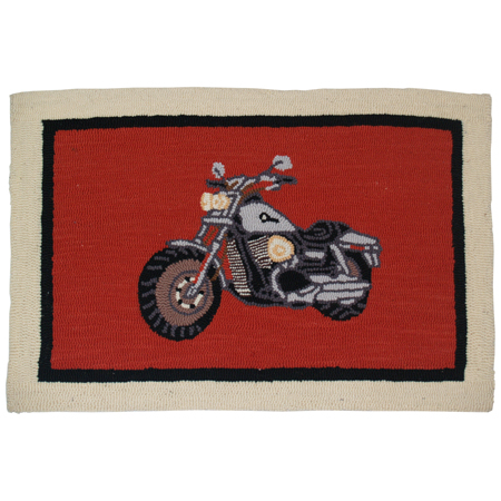 Motorcycle Wool Rug Hand Hooked Small Rug 2FT x 3FT