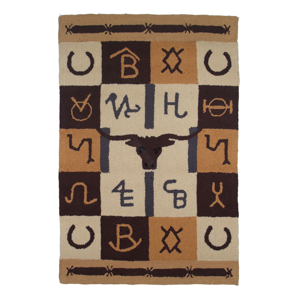 Brand Western wool rug hand hooked large rug 4 ft x 6 ft