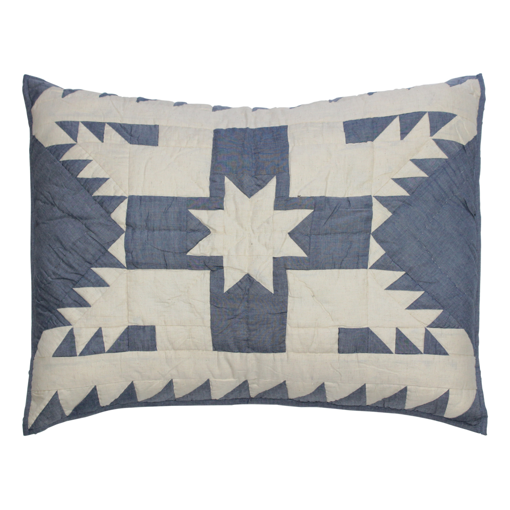 "Blue Feathered Star king sham 31""W x 21""L"