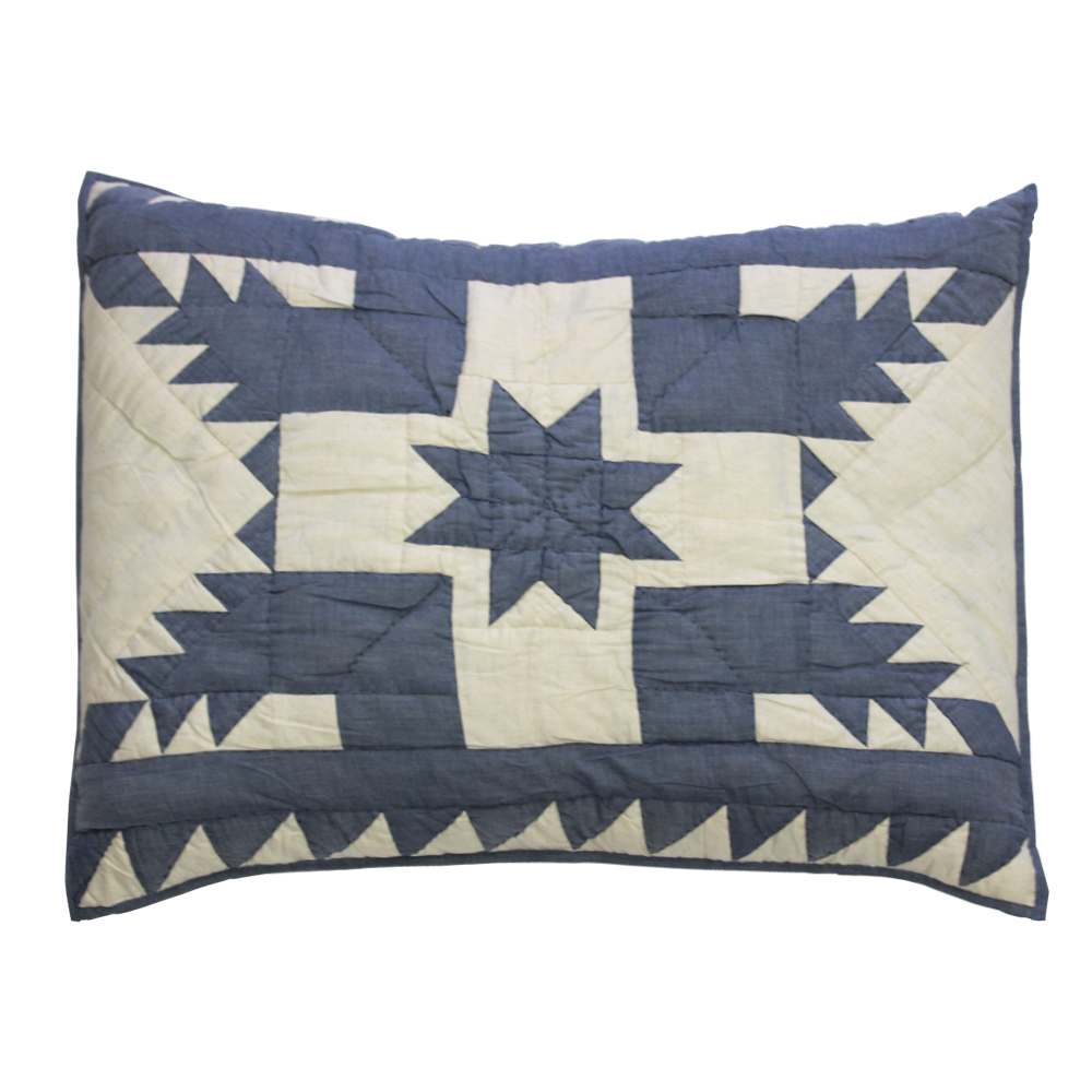 "Denim Feathered Star king sham 31""W x 21""L"