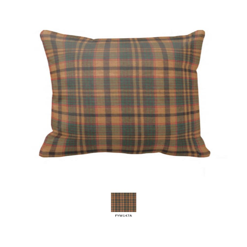 "Gold and Brown Plaid King Sham 31""W x 21""L"