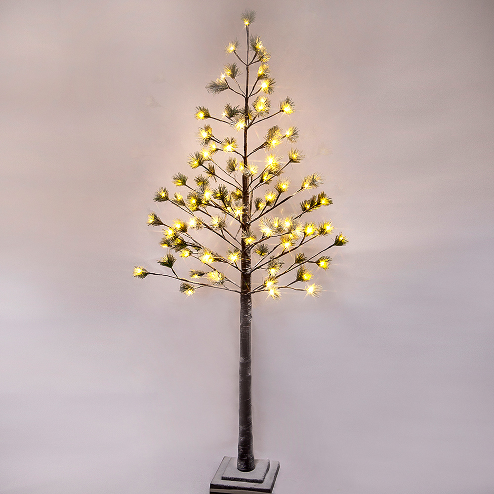 6 ft Prelit Christmas Tree, Pine with green needle leaves with 96 Warm White Lights.