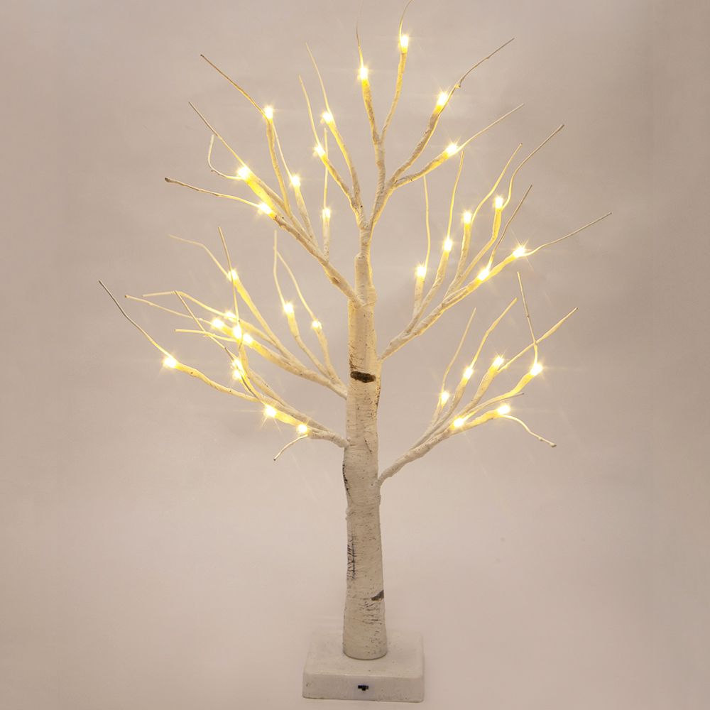 2 ft Prelit Christmas Tree, Birch LED Lighted Tree with 36 Warm White Lights
