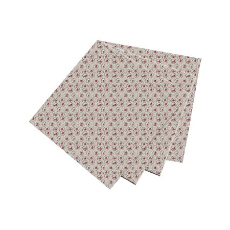"Roses Print on Beige Fabric Napkin 20""W x 20""L"