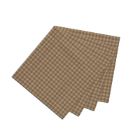"Brown and Gold Gingham Fabric Napkin 20""W x 20""L"