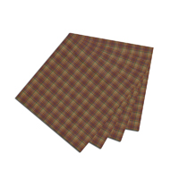 """Rustic Red and Tan Check Plaid Fabric Napkin 20""""W x 20""""L"""
