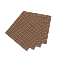 "Green and Warm Brown Plaid Fabric Napkin 20""W x 20""L"
