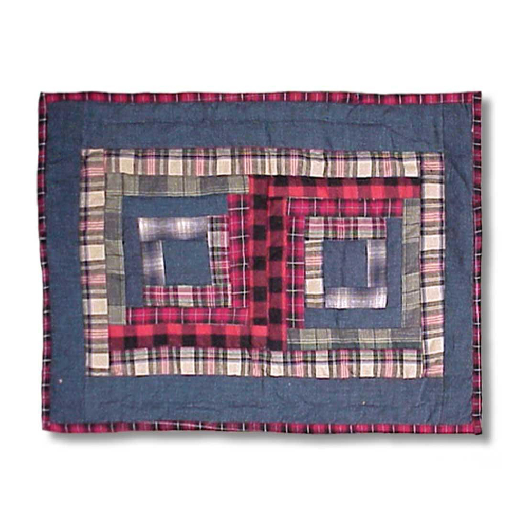 """Red Log Cabin Place Mat 13""""W x 19""""L"""