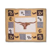 "Brand Western Steer Pillow Sham 27""W x 21""L"