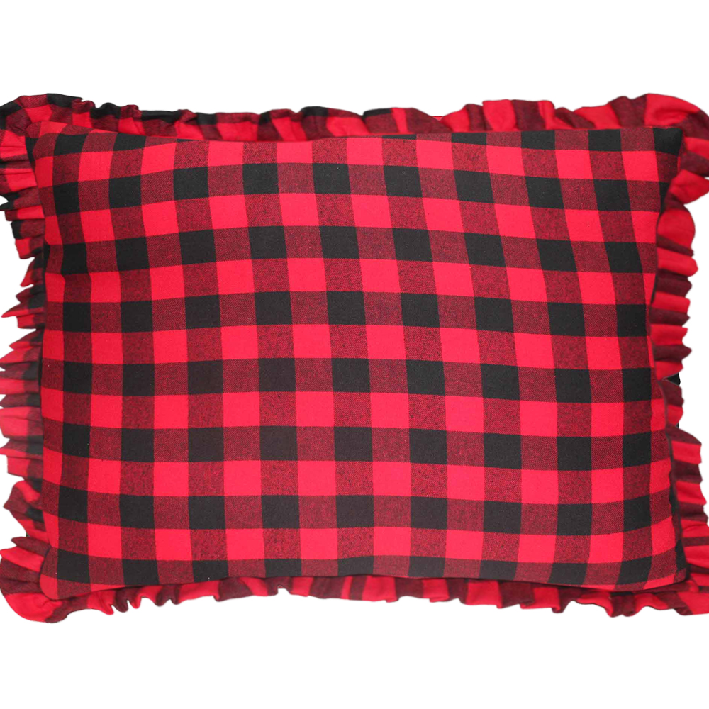 "Red and Black Twill Buffalo Check Fabric Pillow Shams 27""W x 21""L Ruffled"