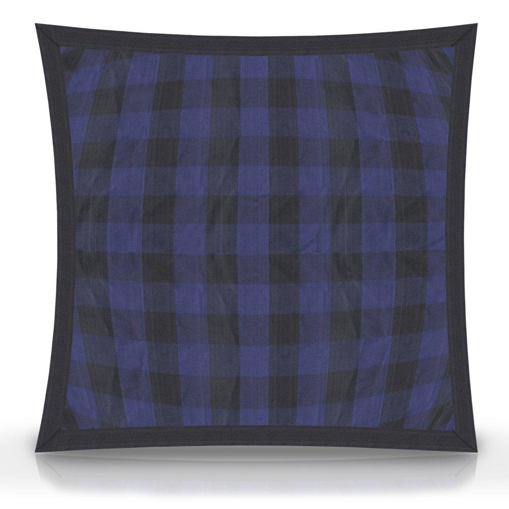 "Blue and Black twill buffalo pillow shams 27""w x 21""l Flanged"