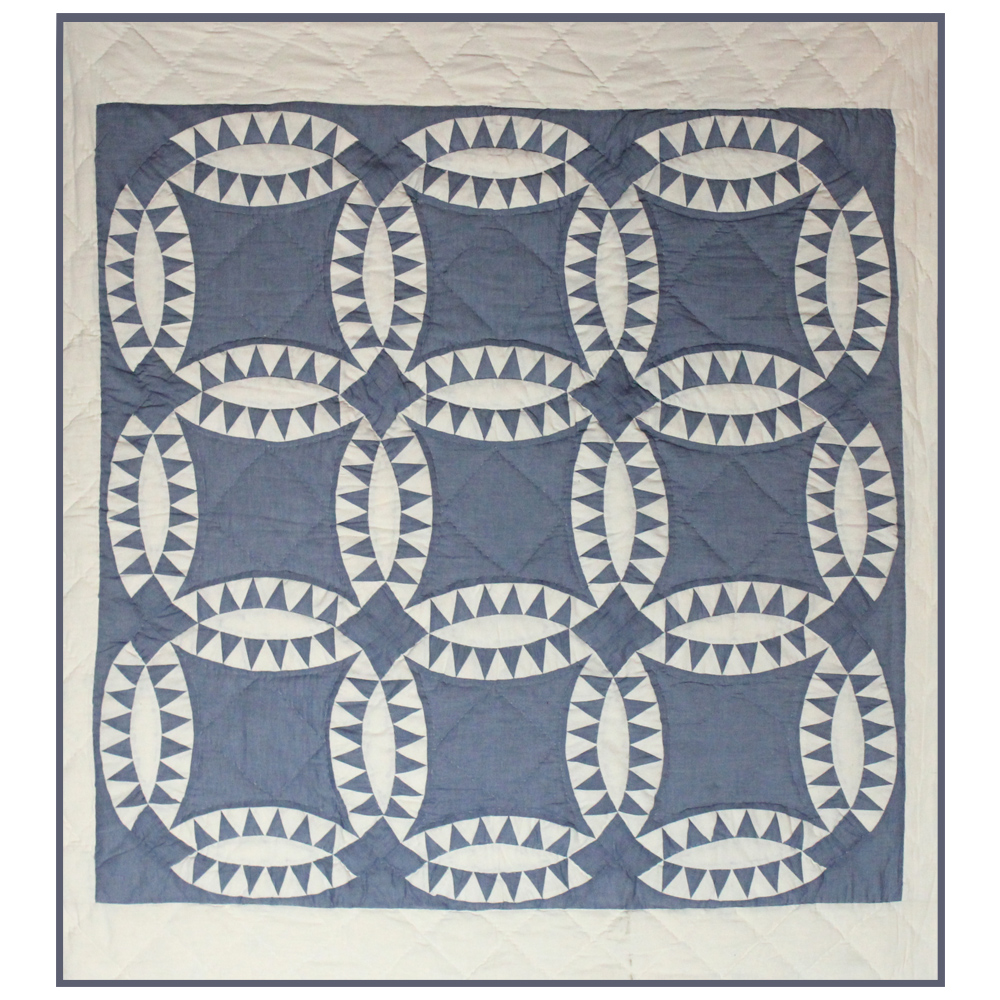 "Blue and White Wedding Ring Pillow Sham 27""W x 21""L"