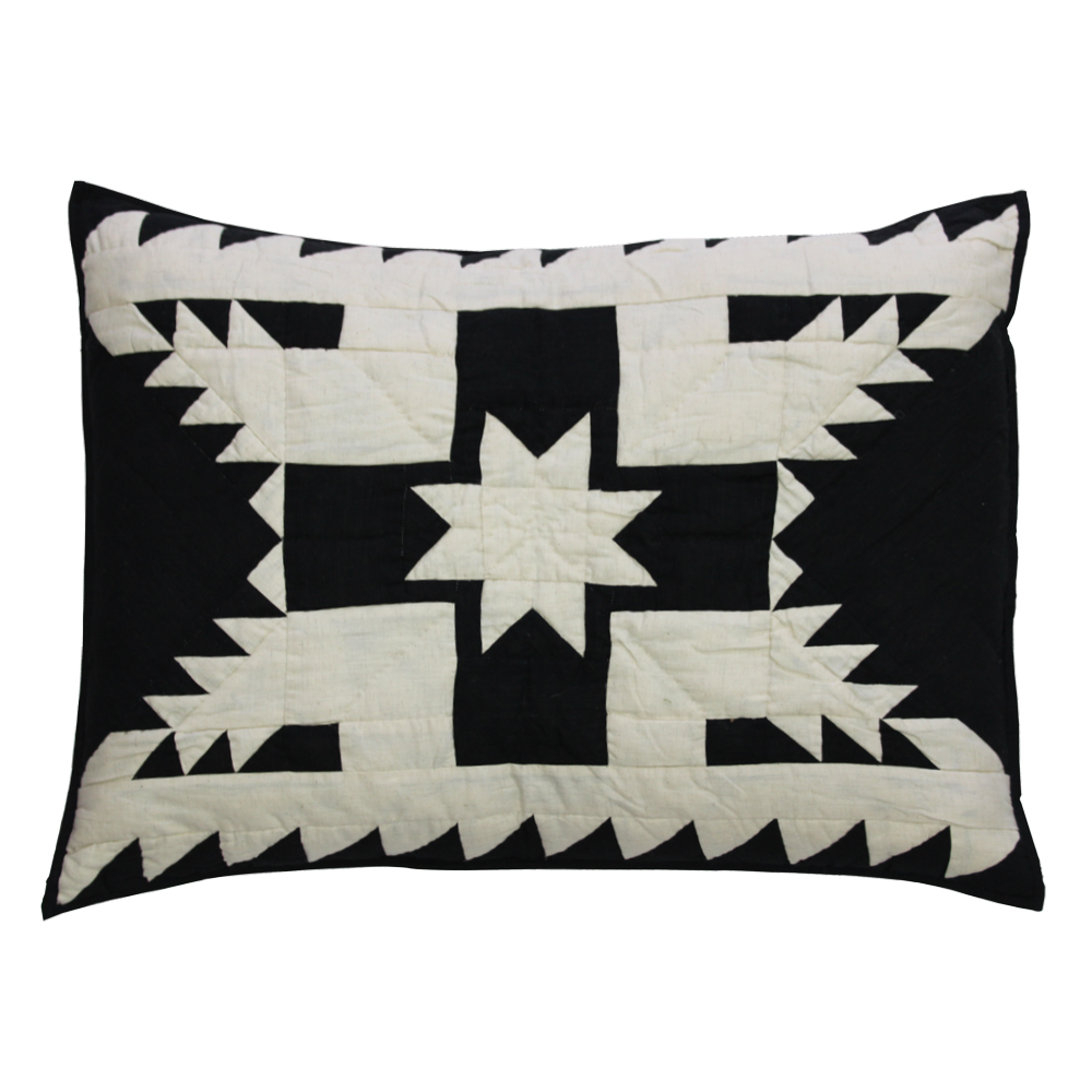 "Black Feathered Star Pillow Sham 27""W x 21""L"